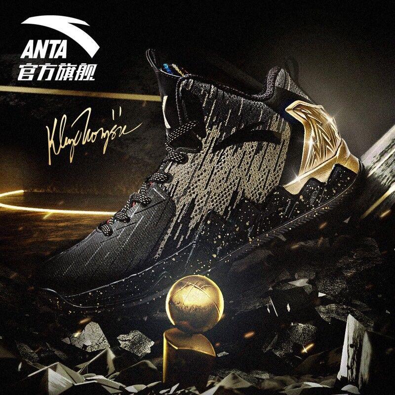 2017 Anta KT2 Klay Thompson Finals Championship Black gold Basketball shoes Sz 9