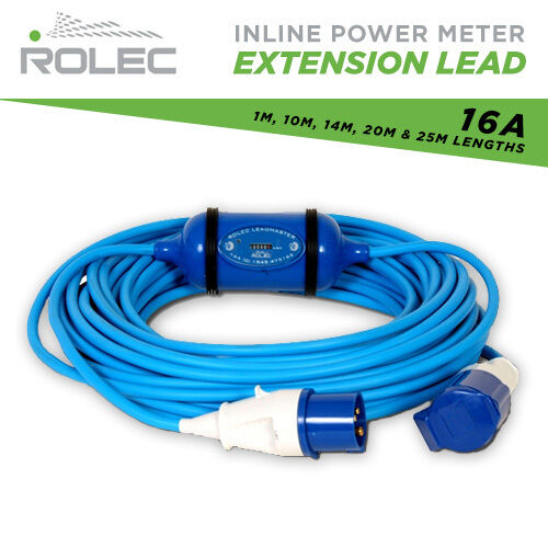 16A Rolec Extension lead with KWH Meter 1M - 25M Marina, Caravan Hook up Lead