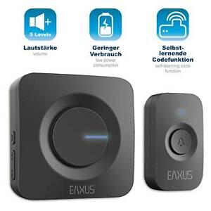 EAXUS® LED Türklingel Funkklingel 52 Melodien Wasserdicht Batterie Kabellos 200m