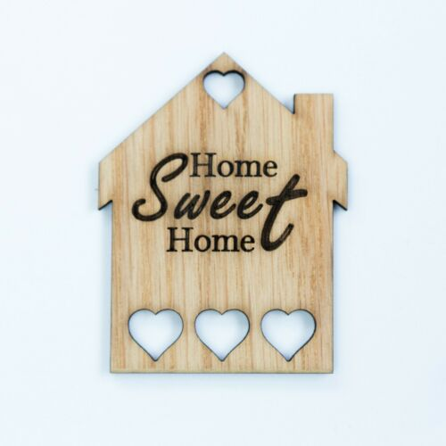 5x MDF Wooden House Home Shapes Tags engraved embellishments Craft Blanks OAK