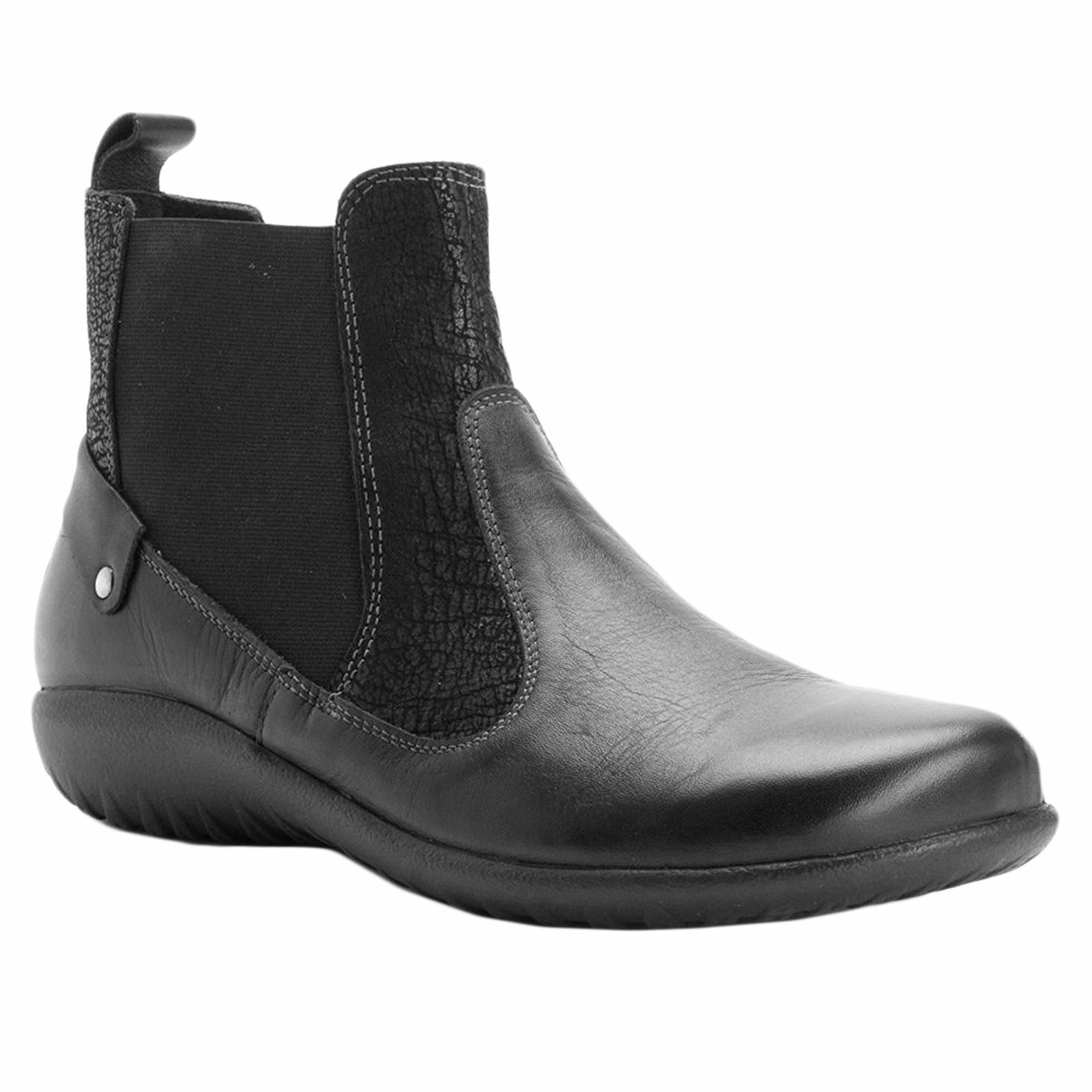 Naot Konini Black Raven Womens Leather Slip on Fashion Wedge Ankle Boots shoes