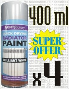 Details About 4 X 400ml Radiator Aerosol Spray Paint Heat Resistant White Metal Wood