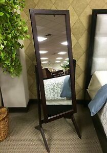 Free Standing Full Length Mirror Espresso Wood Rectangle