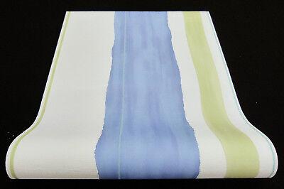 6454-08- 6 Rollen Vliestapeten Aquarell-Optik gestreift weiß blau grün türkis