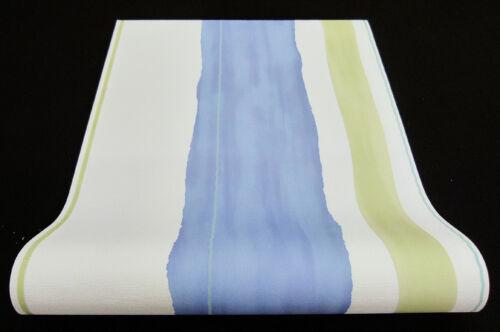 "Vliestapete /""make up/"" Aquarell-Optik gestreift weiß blau grün türkis 6454-08-2"