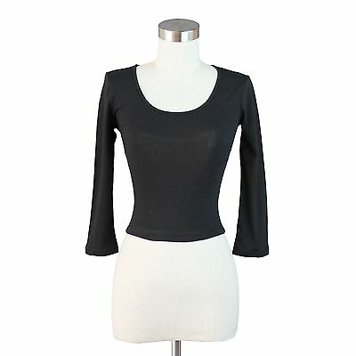 Crop Scoop Neck Top 3/4 Sleeve Sexy Twist Open Back Shirt Solid Fitted S M L