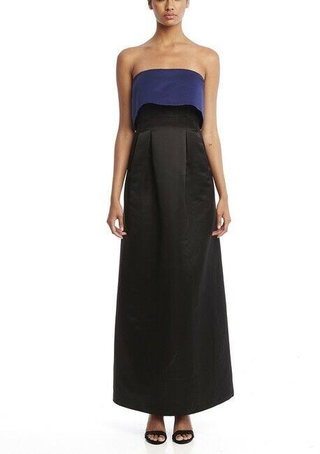 SABLE +  ZOE Jacqueline Two-Tone Popover Gown schwarz & Blau NWT Sz 6, 8