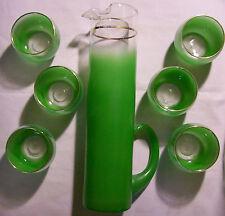 West Virginia Specialty Glass Green Blendo Martini/Beverage Set 1950s 7 Pcs