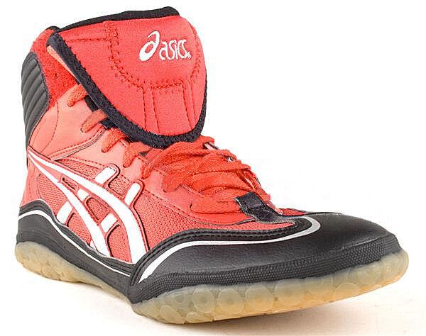 New ASICS Women Red Leather Wrestling Ankle Flat Sneaker shoes Sz 8 M Men 6.5 M