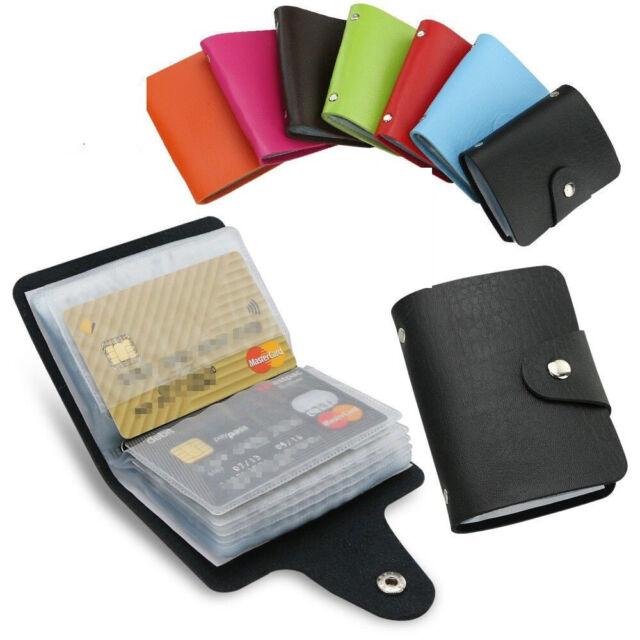Quality Leather Credit Debit ID Card Holder Wallet Case 24 Cards Pocket Purse C*