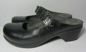 Dansko-Black-Solitaire-Mary-Jane-Slip-On-Leather-Clog-Shoes-Size-39-8-5-9