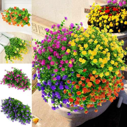 8 Bundles Artificial Flowers Fake Outdoor Home Garden Decor Plants UV Resistant