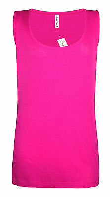 Womens B.C Long Vest Tank Top Ribbed Lycra STRETCH Plus Size 26 to 32 Ladies