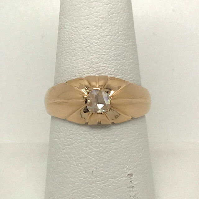 Authentic 18k Yellow Gold Rose Cut Diamond Mens Ring Size 8.5