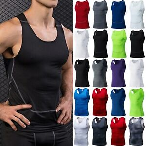 Details about  /Mens Compression Vest Tops Sports T-Shirt Under Skin Base Layers Gym Muscle Tee