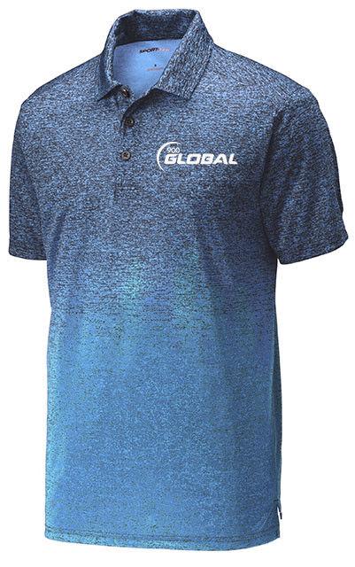 900 Global Men's After Dark Ombre Dri-Fit Polo Bowling Shirt Carolina bluee Navy