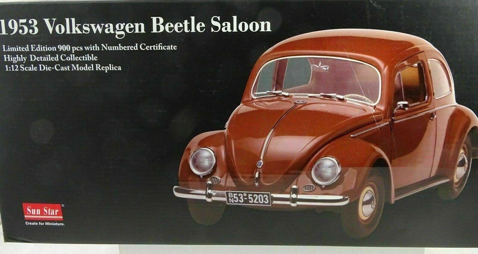 1 12 SUN STAR  5203 - 1953 Volkswagen VW Beetle Beetle Saloon Marron Lmtd. 900st