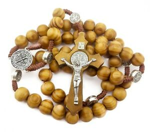 Saint-St-Benedict-Olive-Wood-Beads-Rosary-Beaded-Necklace-Protection-NR-Medal