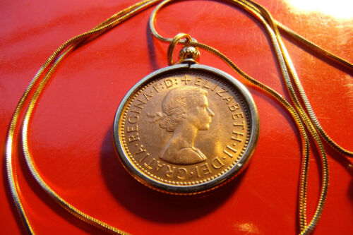 """Ship Coin 1967 English Frigate Mint HayPenny on a  24/"""" Gold Filled Snake Chain"""