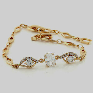 10K-Yellow-Gold-GF-Stunning-CZ-Bracelet-can-Extend-from-17cm-to-21cm-8mm-W