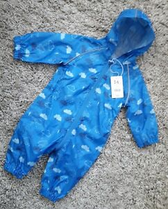 MOTHERCARE-BABY-BOYS-PUDDLESUIT-AGE-3-6-MONTHS-HOODED-NEW-BNWT-RAIN-SUIT-CLOUDS