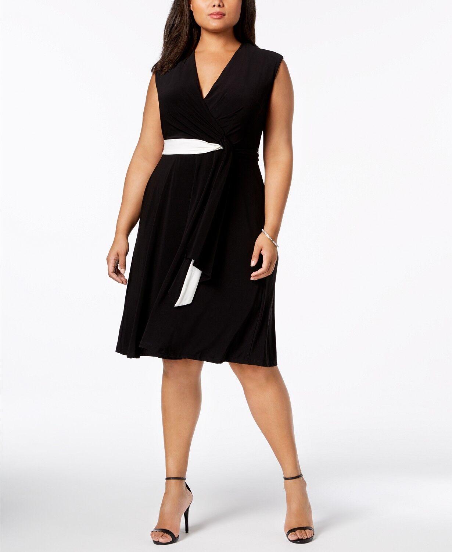 Taylor Women s Black Deep V-neck Jersey Wrap Dress Size 14  eeb19234f