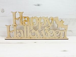 Word Plaque HAPPY HALLOWEEN + Bat MDF Wooden door sign wall art ...