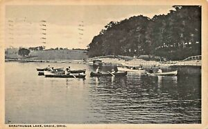 CADIZ-OHIO-CHAUTAUQUA-LAKE-BOATING-1915-H-FINNICAL-PUBLISHED-POSTCARD