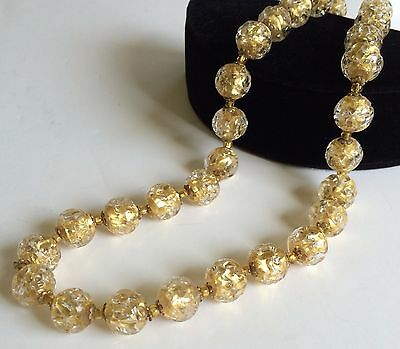 Vintage Miriam Haskell Necklace~Clear/Golden Venetian Glass/Gilt Filigree~Signed