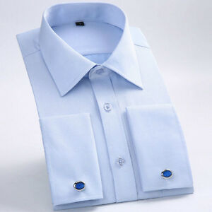 Mens-French-Cuffs-Shirts-Long-Sleeves-Formal-Business-Work-Dress-Cufflinks-6386