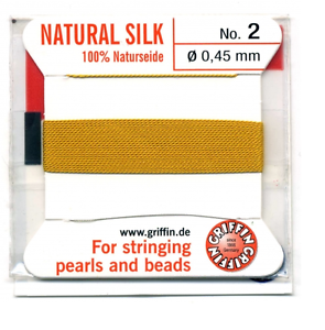 AMBER SILK THREAD 0.45mm STRINGING PEARLS /& BEADS GRIFFIN SIZE 2 FT999