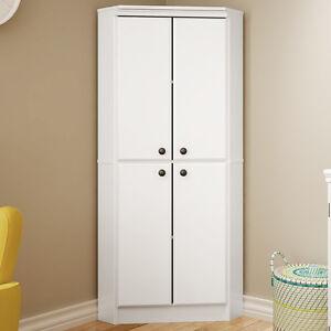 White Four Door Corner Storage Cabinet Home Living Room Pantry Kitchen Furniture Ebay