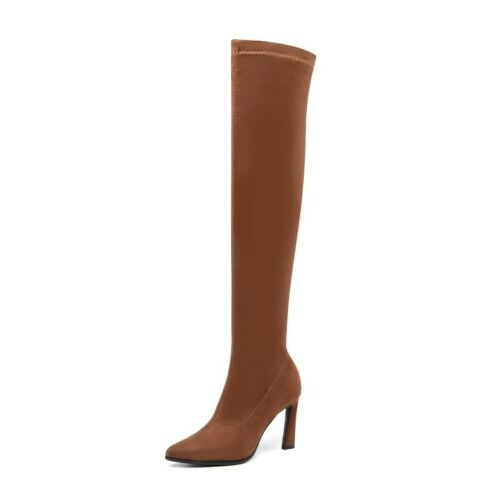 Women/'s Thigh High Block Heel Pull On Casual Over The Knee Knight Boots Cosplay