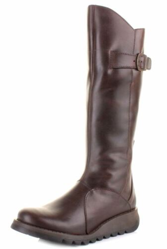 Fly london Mol 2 Dark Brown Leather Womens Knee Hi Boots