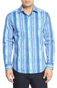 Bugatchi-Shaped-Fit-Stripe-Sport-Shirt-NWT-M-LAST-ONE