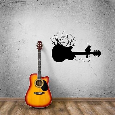 Wall Stickers Vinyl Decal Guitar Music Bird on Branch Cool Room Decor (ig739)