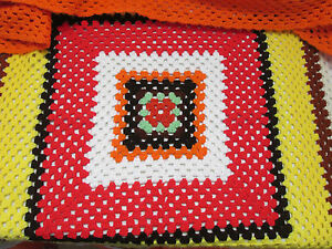 Vintage-Handmade-Crochet-Granny-Blanket-Afghan-Lap-Throw-Multi-Color-Square