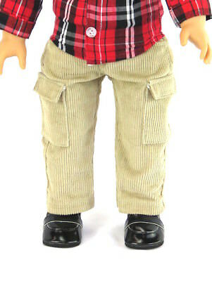 """2pc TAN Cargo Pants w//WHITE Shirt-Top Doll Clothes For 18/"""" American Girl Debs"""