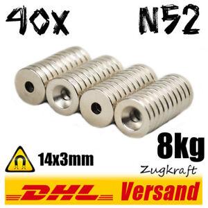 40x-Neodym-Magnet-Scheibe-D14x3-mit-Loch-8kg-N52-Werkstatt-halten-befestigen