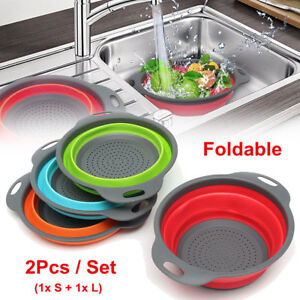2Pcs-Silicone-Collapsible-Colander-Fruit-Vegetable-Draining-Strainer-Basket-RO