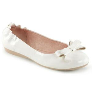 Olive-03-faltbare-Handtaschen-Damen-Lady-Ballerinas-weiss-Lack-mit-Schleife-Gr-40