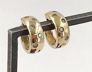 Vintage-925-Sterling-Silver-Vermeil-amp-Cubic-Zirconia-Petite-Huggie-Earrings