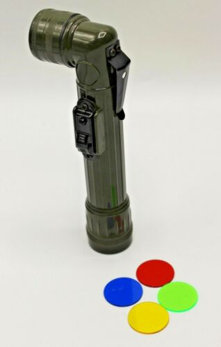 Small New Military Army Style Olive Flashlight Torch Lantern Angle Head