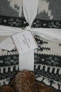 Pottery-Barn-Fair-Isle-Pom-Pom-Throw-Blanket-50-034-X-60-034-Gray-NWT