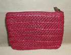 Pink Woven Straw Clutch Cosmetic Bag EC!
