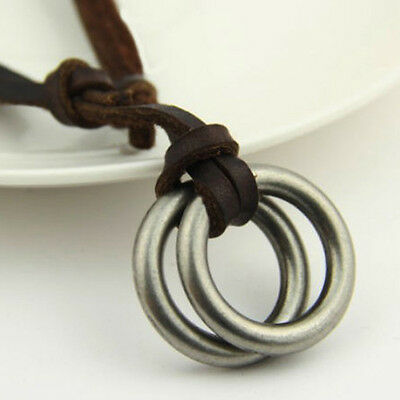 Mens Womens Great Classy Circle Ring Pendant Brown Genuine Leather Necklace Cord