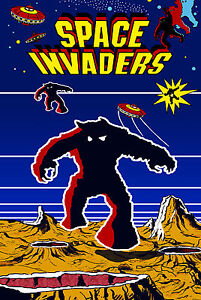 Space Invaders Retro Game Poster 6 Sizes Mame Arcade