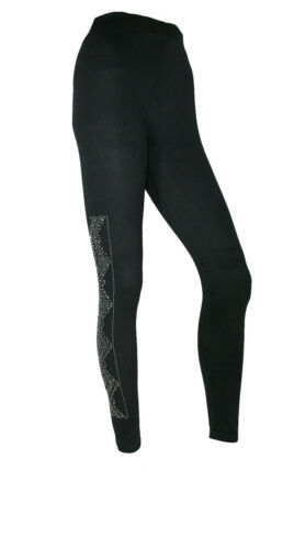 Leggings Leggins Hose Stoffhose schwarz mit Glitzerapplikationen NEU