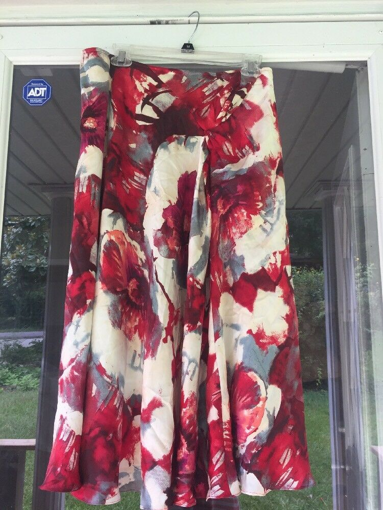 NEW Meredith Maxi Skirt FLORAL  100% Silk Size 12  NWoT
