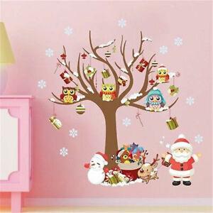 Deko-Weihnachten-Eule-Tier-Weihnachtsmann-Wandsticker-Wandtattoo-Aufkleber